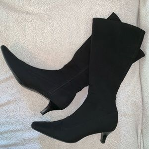 Impo Stretch Black Kitten Heel Mid Calf Boots